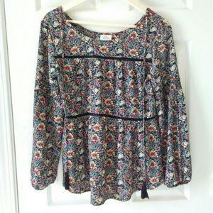 Knox Rose Floral Tassel Boho Top shirred sleeves